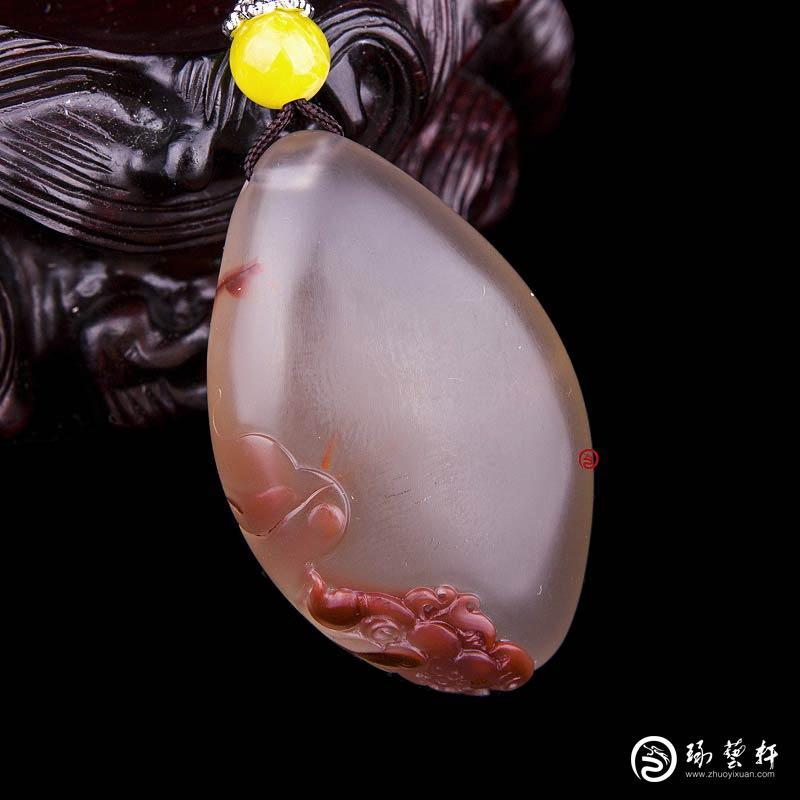 【琢艺轩】四川凉山南红玛瑙锦红飘花挂件  小池  18克