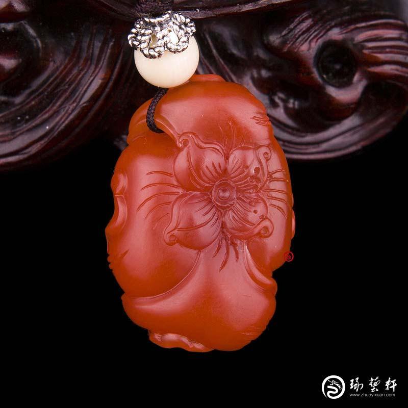 【琢艺轩】四川凉山南红玛瑙樱桃红挂件   牡丹花  6.6克