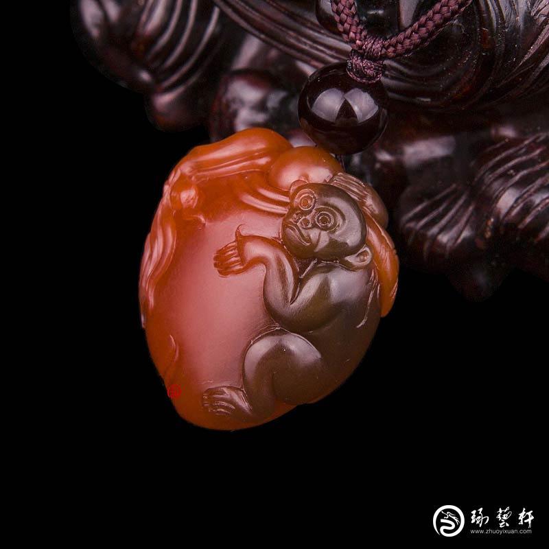 【琢艺轩】四川凉山南红玛瑙樱桃红挂件    灵猴献寿    7克