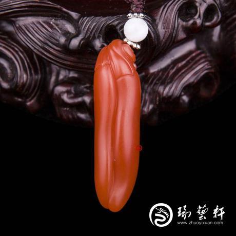 四川涼山南紅瑪瑙柿子紅掛件    雙嬌   7.6克