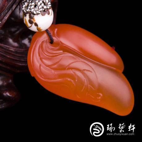 四川凉山南红玛瑙樱桃红挂件  双娇  5克