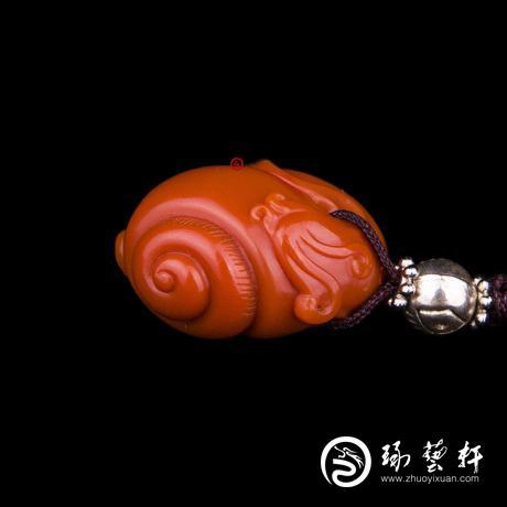 四川凉山南红玛瑙锦红挂件   蜗牛  8克
