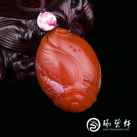 四川涼山南紅瑪瑙柿子紅掛件   節節高    29克