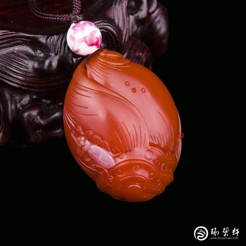 【琢艺轩】四川凉山南红玛瑙柿子红挂件   节节高    29克
