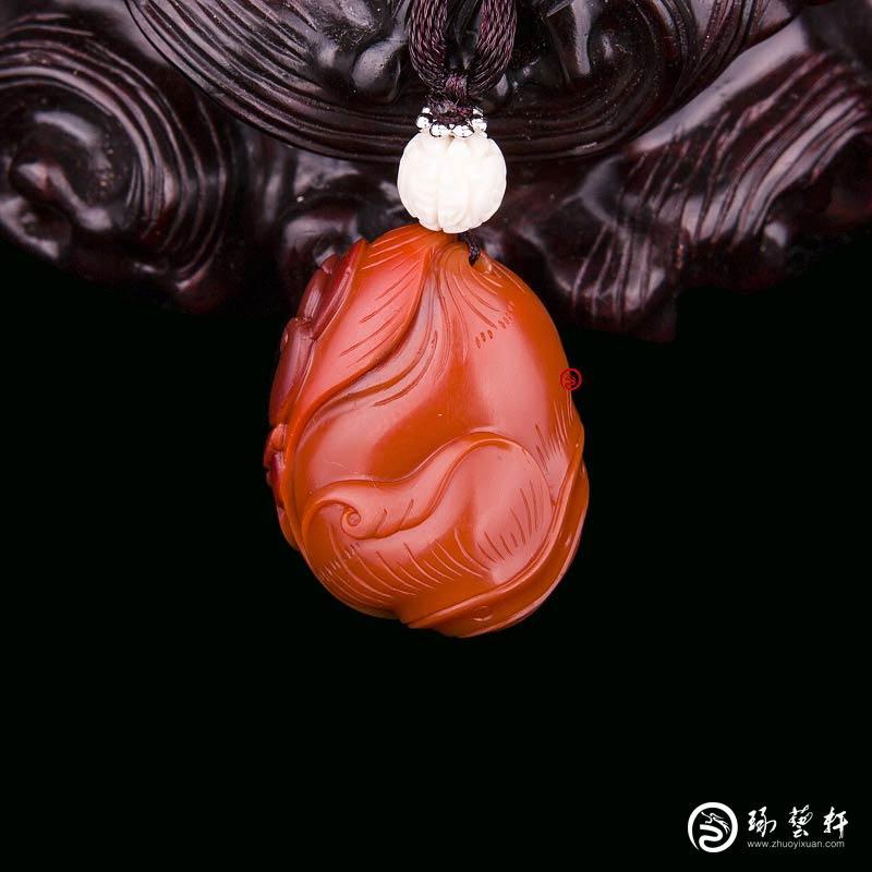 【琢藝軒】四川涼山南紅瑪瑙錦紅掛件   節節高   11克