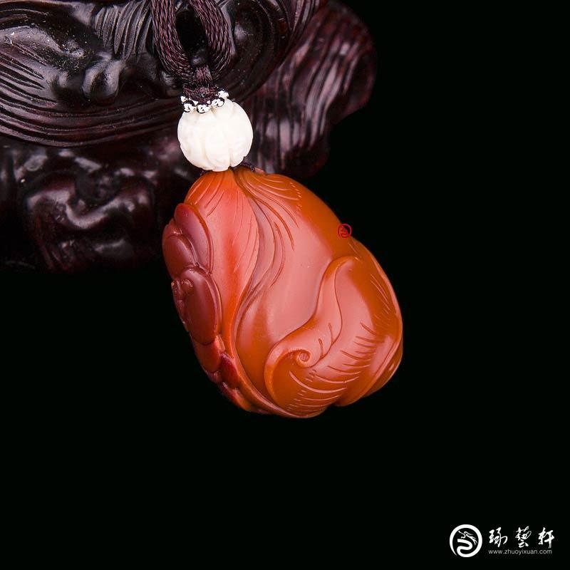 【琢艺轩】四川凉山南红玛瑙锦红挂件   节节高   11克