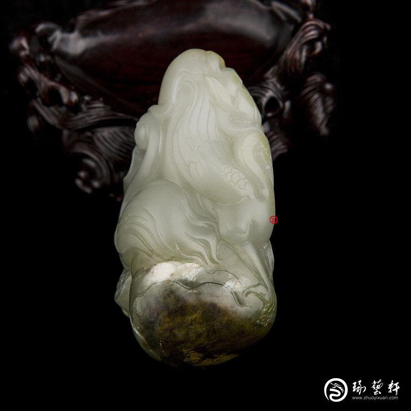 【琢艺轩】新疆和田玉枣红皮翠青白玉籽玉把件 一路连科 165克