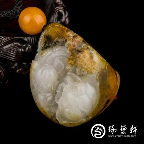 新疆和田玉沁皮白玉籽玉把件 出淤泥而不染(抵工费实价) 115克