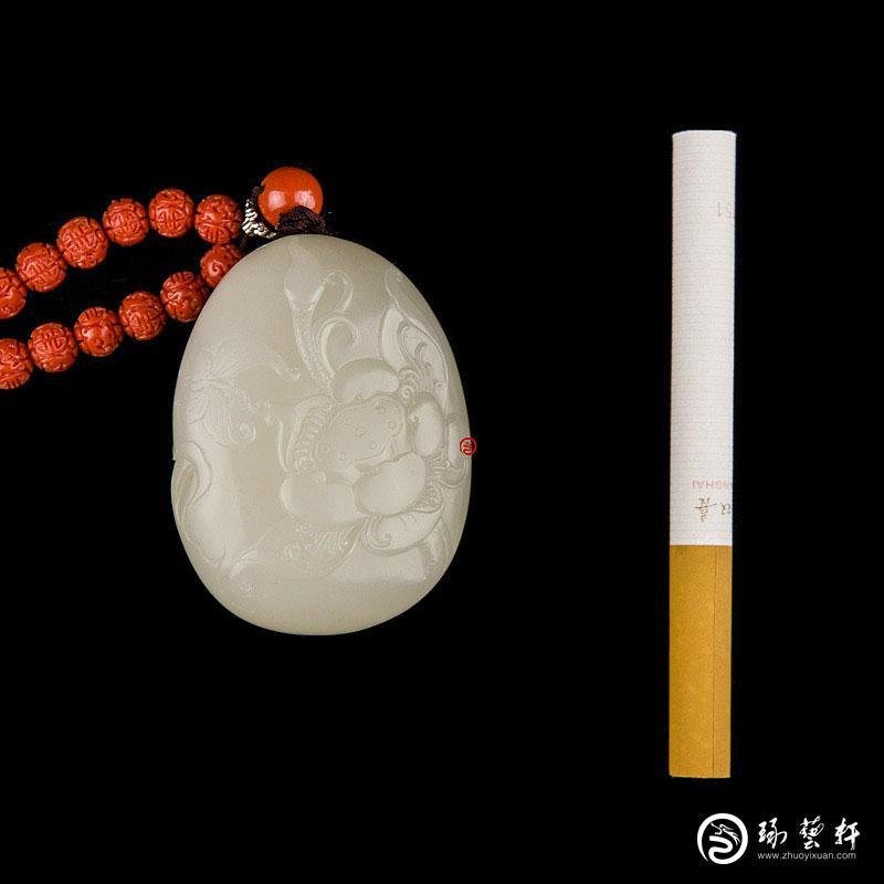 【琢艺轩】新疆和田玉洒金皮白玉籽玉把件 荷香 83克