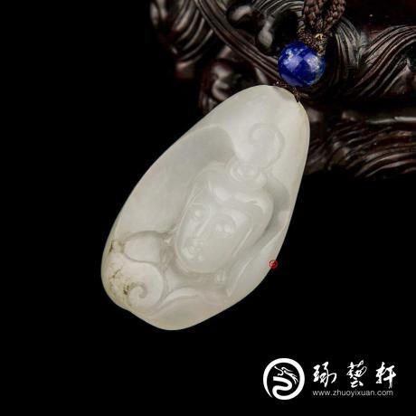 新疆和田玉黑皮羊脂白玉籽玉挂件(独籽) 观音(客户代卖实价) 13克