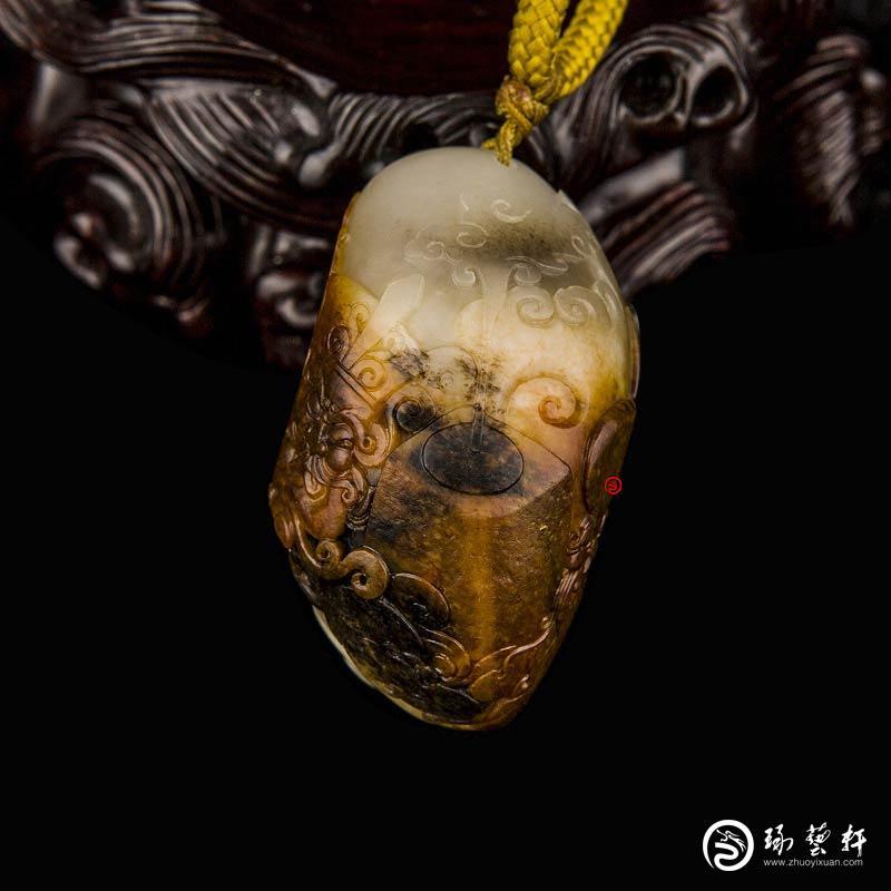 【琢艺轩】新疆和田玉双色红沁白玉籽玉挂件 财福双至(独籽) 60克