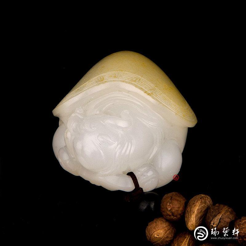 【琢艺轩】新疆和田玉黄皮一级白玉籽玉把件 龙龟 46克
