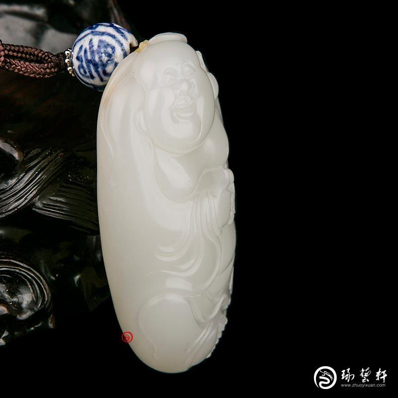 【琢艺轩】穆宇静 新疆和田玉红皮一级白玉籽玉把件 弥勒佛 51克