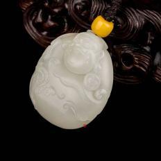 【琢艺轩】新疆和田玉白皮白玉籽玉挂件 财神 26克