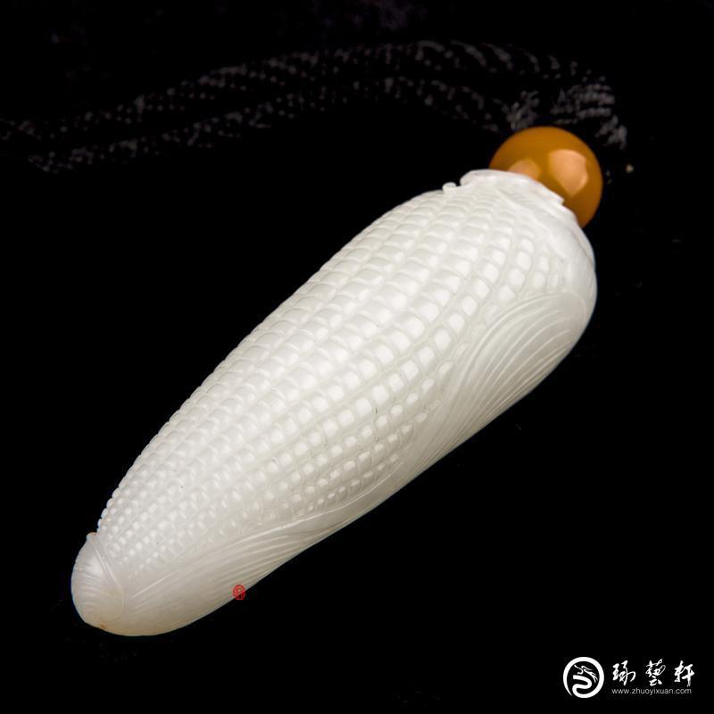 【琢艺轩】新疆和田玉黄皮一级白玉籽玉把件  多子多福  53克
