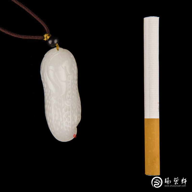 【琢艺轩】新疆和田玉红皮一级白玉籽玉挂件  一生有福 30克
