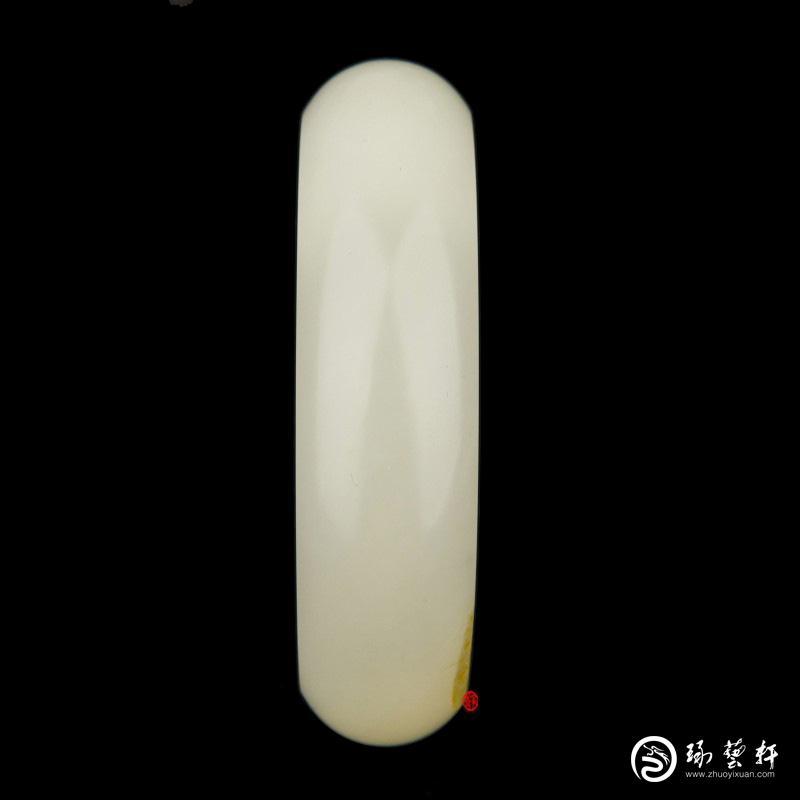 【琢艺轩】新疆和田玉黄皮白玉籽玉手镯  95克