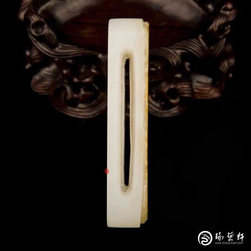 【琢艺轩】新疆和田玉黄沁白玉籽玉把件 祥龙纳福 皮带扣 63克