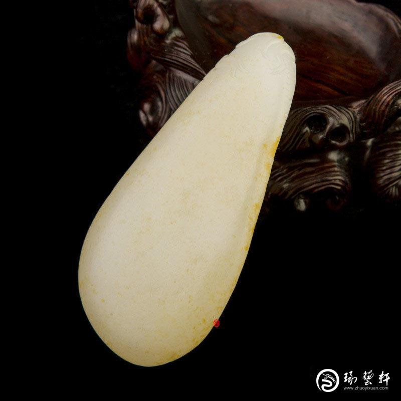 【琢艺轩】新疆和田玉黄皮一级白玉籽玉把件 龙马精神  67克