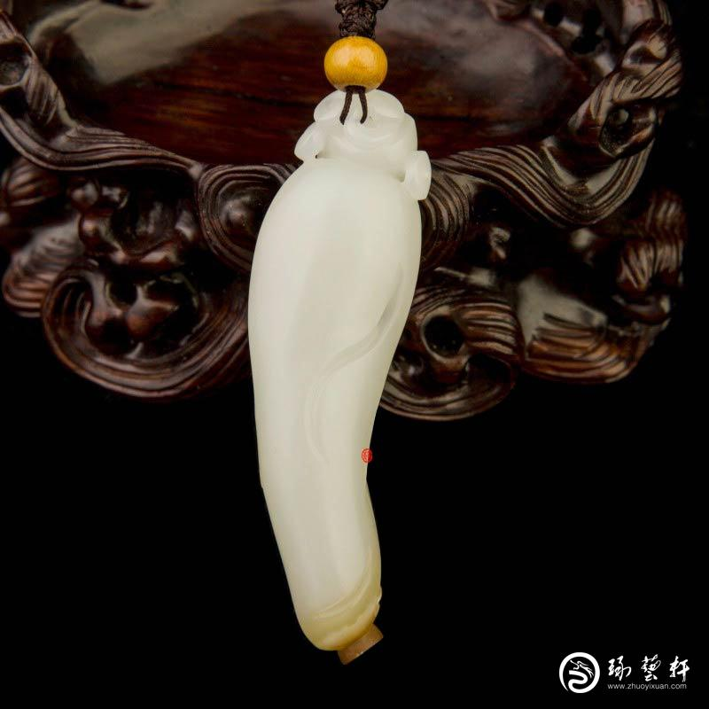 【琢艺轩】新疆和田玉红沁一级白玉籽玉挂件 财神 16克
