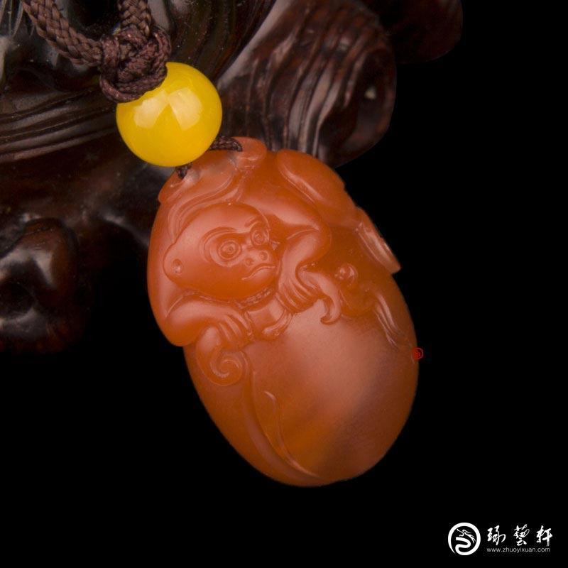 【琢艺轩】四川凉山南红玛瑙樱桃红挂件  灵猴  7克