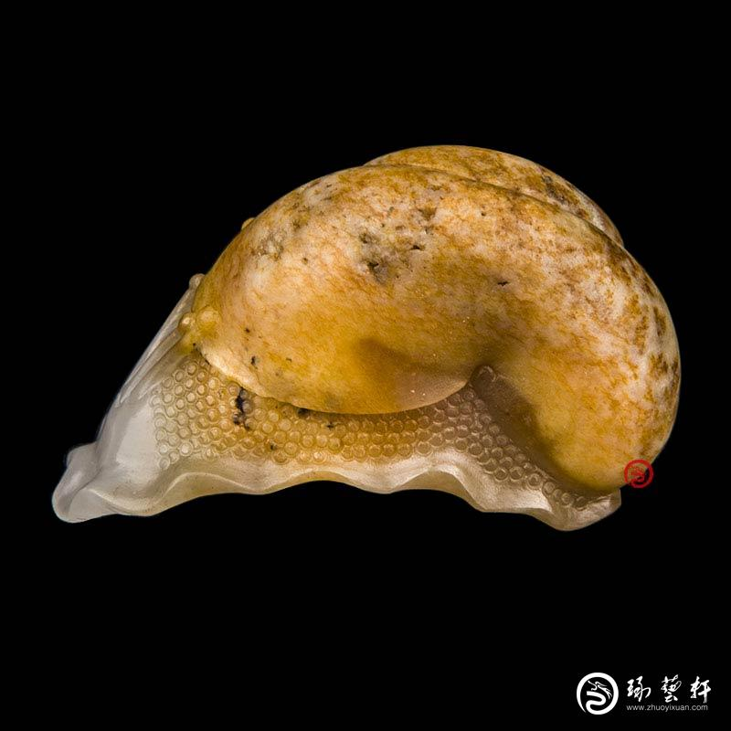 【琢艺轩】新疆和田玉羊脂白玉籽玉挂件 蜗牛 32克