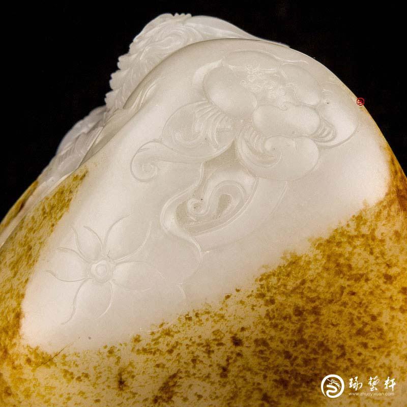 【琢艺轩】宋建东 新疆和田玉红皮白玉籽玉摆件 马上福将 410克