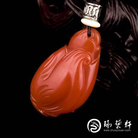 四川凉山南红玛瑙柿子红挂件 节节高 8克