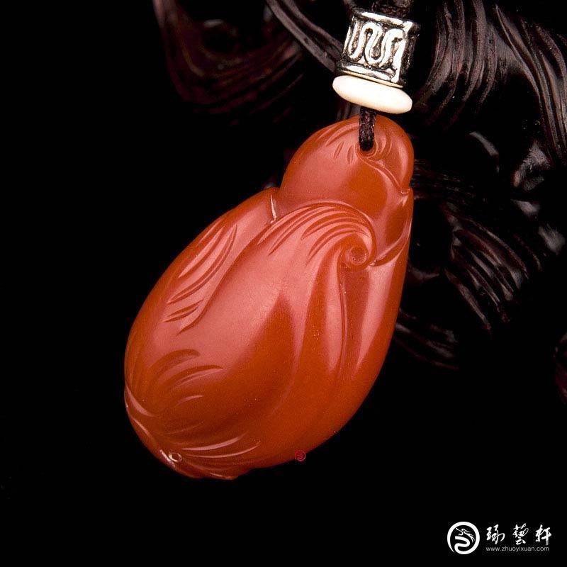 【琢艺轩】四川凉山南红玛瑙柿子红挂件 节节高 8克