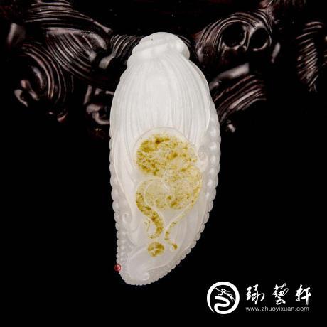 新疆和田玉灑金皮一級白玉籽玉掛件 多子多福 36克