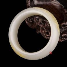 【琢艺轩】新疆和田玉黄皮羊脂白玉籽玉手镯  凤戏牡丹 89克
