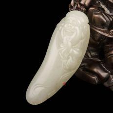【琢艺轩】新疆和田玉黄皮一级白玉籽玉把件 财神纳福 49克