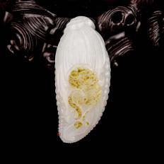 【琢艺轩】新疆和田玉洒金皮一级白玉籽玉挂件 多子多福 36克