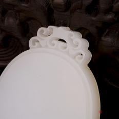 【琢艺轩】新疆和田玉白皮一级白玉籽玉玉牌 平安无事牌 29.8克