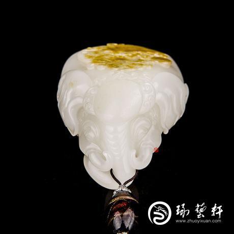 曹伟 新疆和田玉黄皮白玉籽玉把件 太平有象 137克
