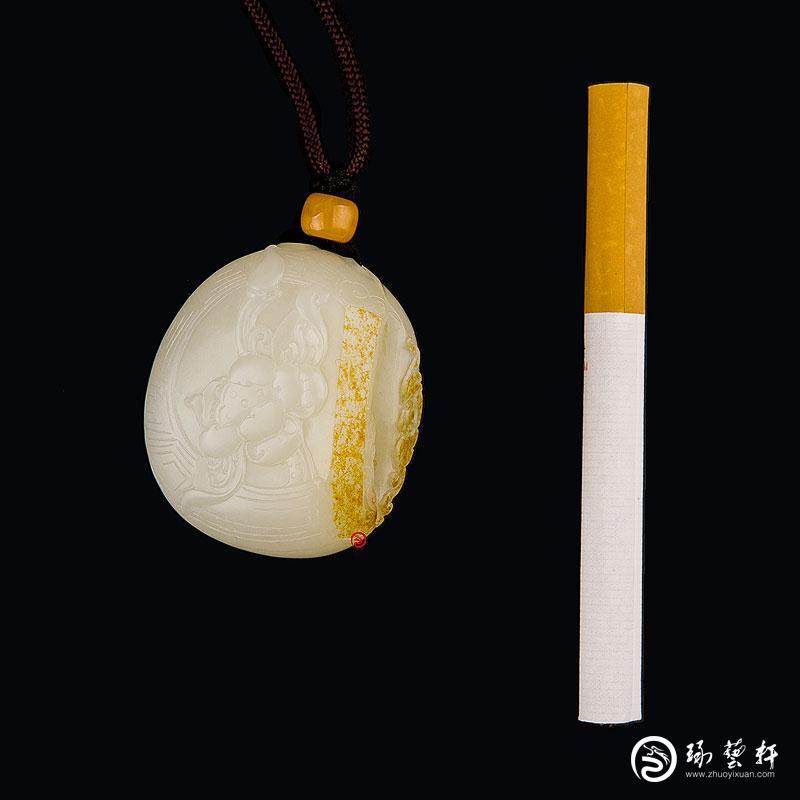 【琢艺轩】新疆和田玉黄皮白玉籽玉把件 出淤泥而不染 48克