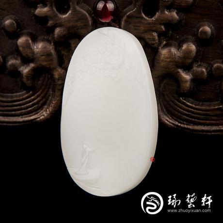 新疆和田玉白皮羊脂白玉籽玉玉牌 高瞻远瞩 14克