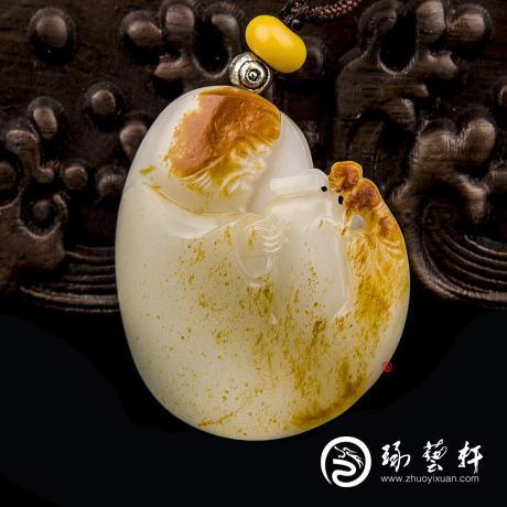 穆宇静 新疆和田玉红皮羊脂白籽玉挂件 钟馗降妖 27克