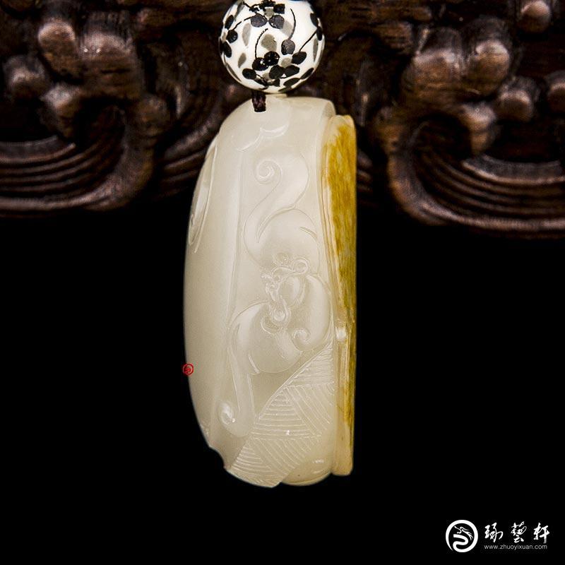 【琢艺轩】新疆和田玉黄皮白玉籽玉挂件 府上有龙 31克