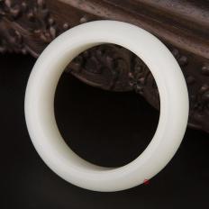 【琢艺轩】新疆和田玉一级白白皮白玉籽玉 手镯 106.5克