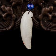 【琢艺轩】新疆和田玉黄皮一级白玉籽玉挂件 多子多福 6克