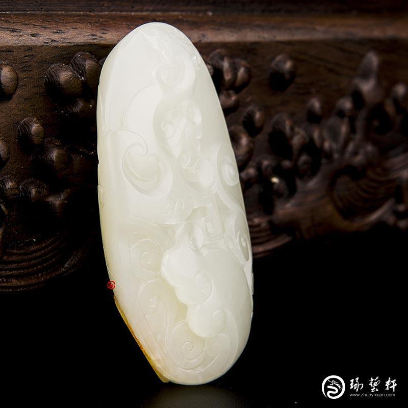 【琢艺轩】新疆和田玉红皮白玉籽玉挂件 腾 44克