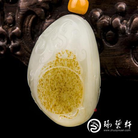 新疆和田玉黄皮白玉籽玉挂件 汉风 37克
