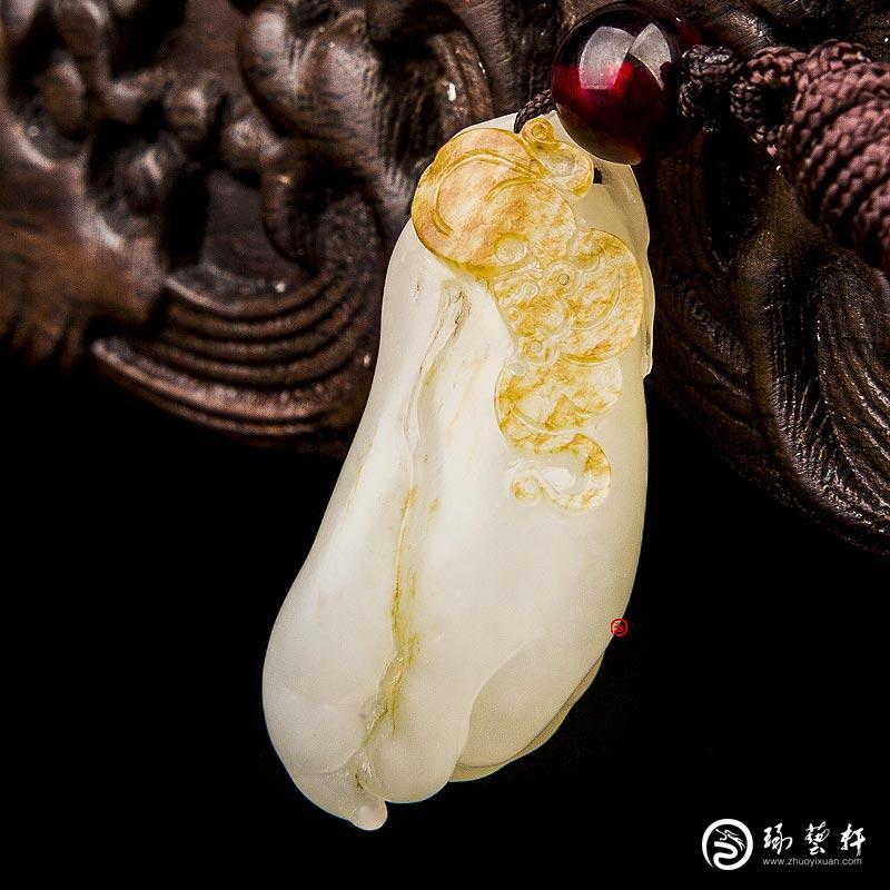 【琢藝軒】新疆和田玉紅皮白玉籽玉掛件 福壽 13克
