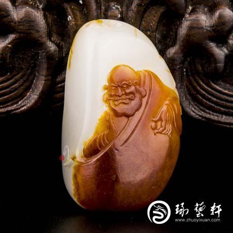 穆宇静 新疆和田玉红沁羊脂白玉籽玉挂件 达摩 19克