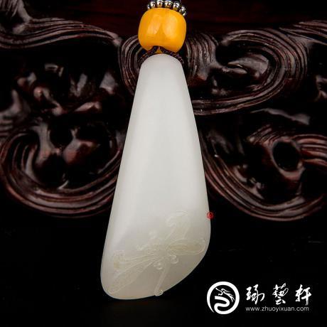 新疆和田玉洒金皮羊脂白玉籽玉挂件 蜻蜓 11克