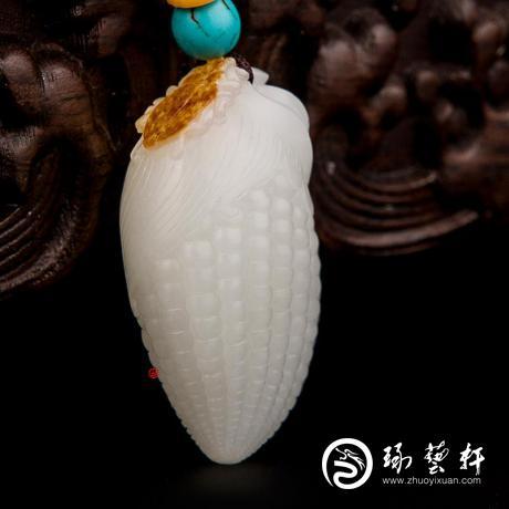 新疆和田玉红皮羊脂白玉籽玉挂件 富甲一方 19克
