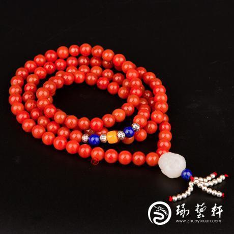 四川凉山南红玛瑙柿子红挂件 手串 90克