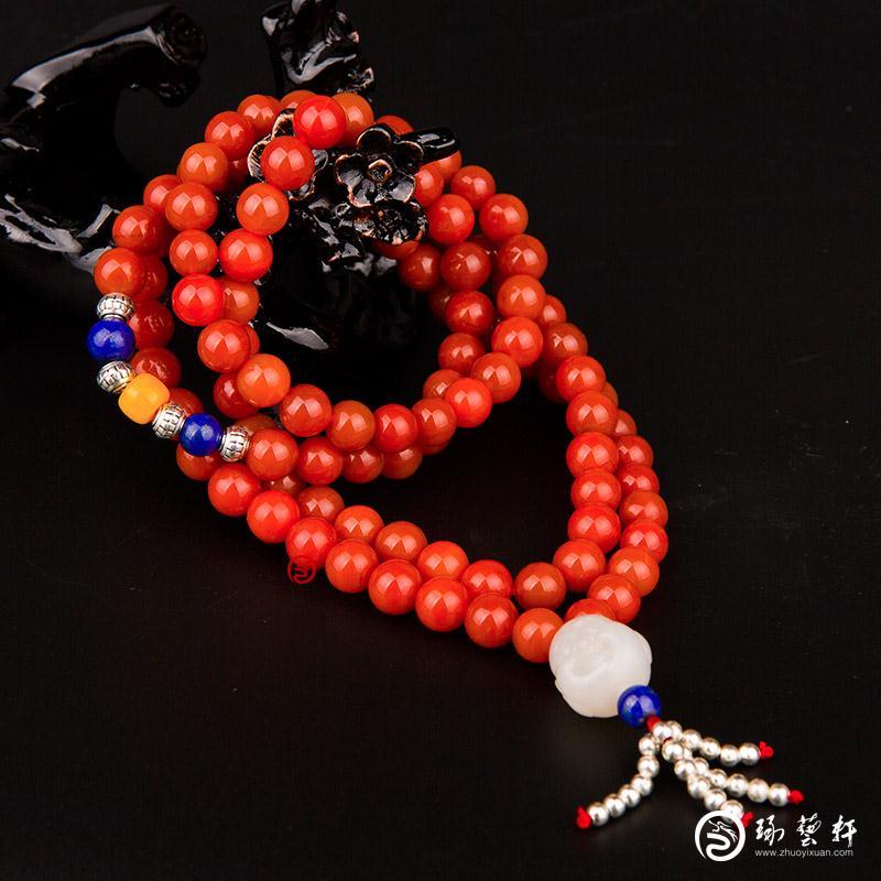 【琢艺轩】四川凉山南红玛瑙柿子红挂件 手串 90克