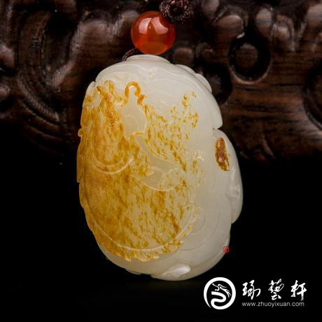 新疆和田玉红皮白玉籽玉挂件 连年有余 17克